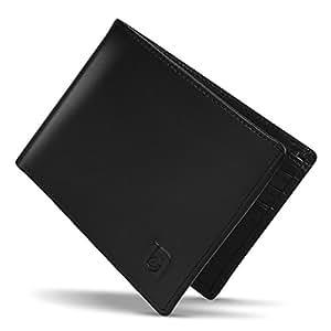 Lavievert Supple Genuine Leather Travel Bifold Wallet Men's RFID Blocking Slim Light-weight Wallet - Black