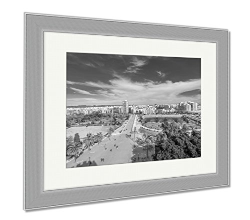 Ashley Framed Prints Aerial View Of The Old Town In Valencia From Serranos Tower, Wall Art Home Decoration, Black/White, 30x35 (frame size), Silver Frame, - Towns Valencia In
