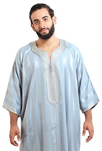 Moroccan Men Caftan Handmade Gandoura Cotton Blend Delicate Embroidery Grey by Moroccan Men Clothing (Image #6)