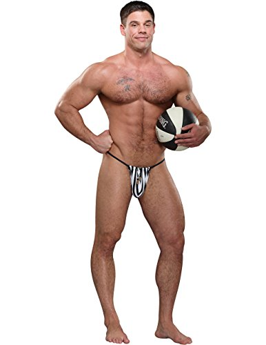 [Referee G-String in Black/White Stripes, One Size] (Mens Referee Costumes)