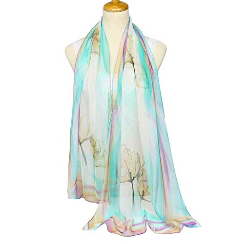 Quality georgette silk scarf floral printing thin scarf female beach towel shawl spring and autumn long towel,Long,Color5GreenCoffee