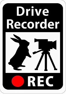 Magnet Sticker for Drive Recorder / Rabbit and video camera / White / s21
