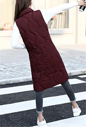 H Sottile Coreana Colletto Donne Imbottito amp; Alla Medio Red4 Di lungo Palla Delle Trapuntato Gilet E Cotone Pesce OrwO5Eq