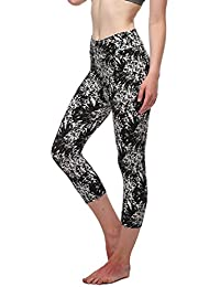 Women's Printed Active Workout Capri Leggings Fitted Stretch Tights