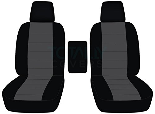 2004-2008 Ford F-150 Two-Tone Truck Bucket Seat Covers Center Armrest, w/wo Integrated Seat Belts: Black & Charcoal (21 Colors) 2005 2006 2007 F-Series F150 Front