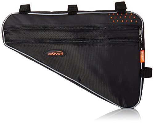 Ibera Bicycle Triangle Frame Bag, Strap-On Bike Top Tube Pouch, Cycling Essential Saddle Frame Bag with Reflective Trim, Crossbar Bike Pack MTB, Road Bikes (Large: 5L Capacity)