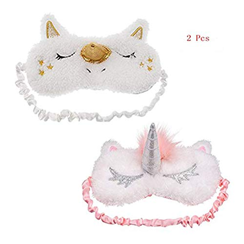 2Pcs Unicorn Sleeping Mask Cute Unicorn Horn Soft Plush Blindfold Eye Cover for Women Girls