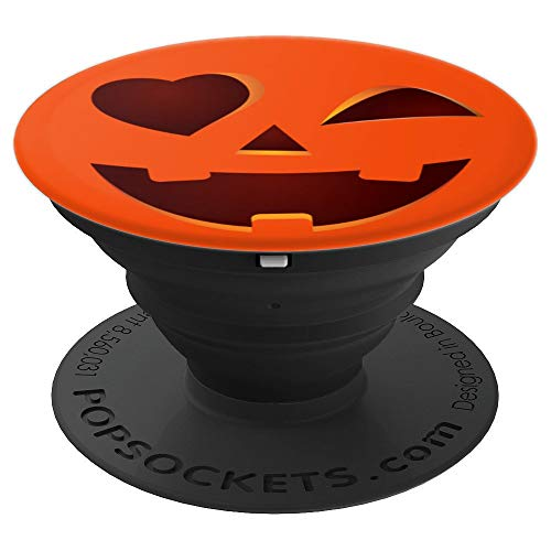 Cute Smiley Face Winking Heart Pumpkin Phone Holder Gift - PopSockets Grip and Stand for Phones and Tablets -