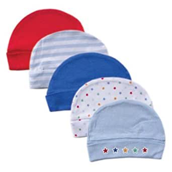 Luvable Friends Cap, 5 Pack, Blue, 0-6 Months