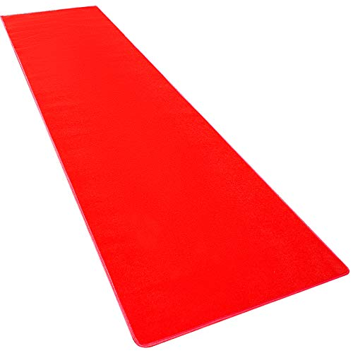 Happybuy 4Ft X 10Ft Large Red Carpet Runner Rug Solid TRP Rubber Backed Hollywood Runner Carpet Non-Slip Stair Patio Party Decor Wedding 1.2M X 3M Aisle Floor Runner Rug - - Dark Red Carpet