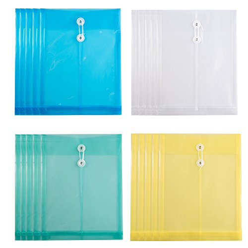 (Fasmov Letter Size Poly String Project Envelope with Expandable Gusset, Set of 20)