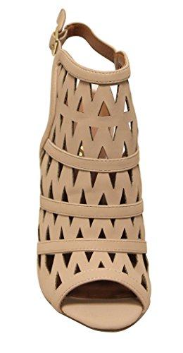 Bonnibel Marisa-5 Para Mujer Peep Toe Con Corte Geométrico Slingback Correa De Tobillo Ajustable Nubuck Sandalias De Tacón Desnudo