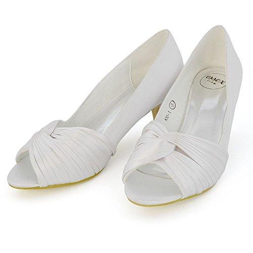 Gatito Blanco Satín Nupcial de Peep Toe Zapato GLAM Satín Tacón Mujer ESSEX S1qwnFUXC