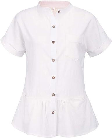 FELZ Moda Blusa de Manga Corta con Cuello en O para Mujer Casual Botón Suelto Camiseta Camisas de Playa Color sólido Verano Tops de Fiesta Original t-Shirt for Womens: Amazon.es: Ropa y