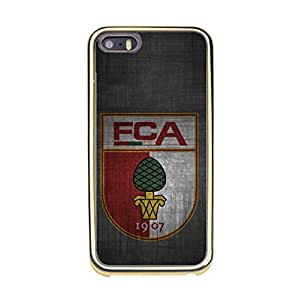 Iphone 5/5s Phone Shell Case,Official Augsburg Football Club Logo Delicate Iphone 5/5s Gold Frame Phone Case