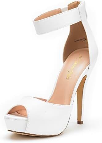 DREAM PAIRS SWAN-05 New Women's Ankle Strap Back Zipper Peep Toe High Heel Platform Pump Shoes