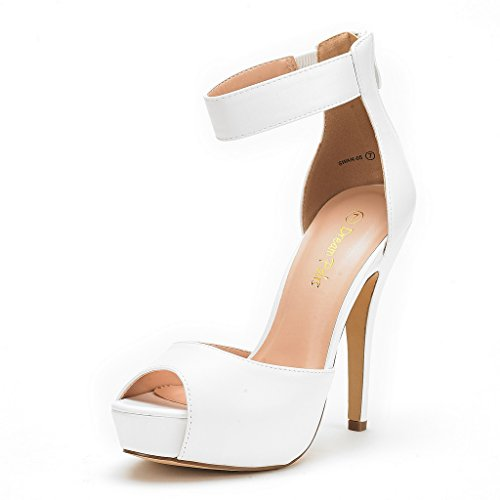 DREAM PAIRS SWAN-05 New Women's Ankle Strap Back Zipper Peep Toe High Heel Platform Pump Shoes,White Pu,6.5 B(M) US