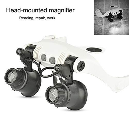 dezirZJjx Head Wearing Magnifying Glasses,Beileshi Headset Illuminated Tool Set,6X 8X 10X 15X 20X 25X Eyeglass LED Light Magnifier Magnifying Loupe