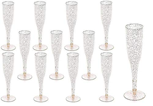 Gold Juice Glass - 30pc Clear Plastic With Gold Glitter Classicware Glass Like Champagne Wedding Parties Toasting Flutes