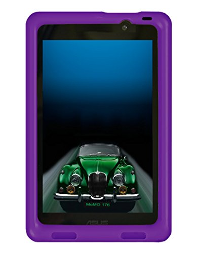 Bobj Rugged Case for ASUS MeMO Pad 7 Models ME176C, ME176CX, ME176CE, K013, K013C (Not for MeMO 7 LTE) - BobjGear Custom Fit - Patented Venting - Sound Amplification - Kid Friendly (Playful Purple)
