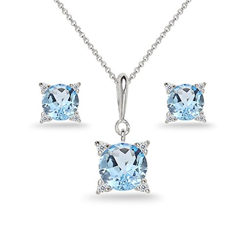 Sterling Silver Blue Topaz Studded Solitaire Necklace & Stud Earrings Set ()
