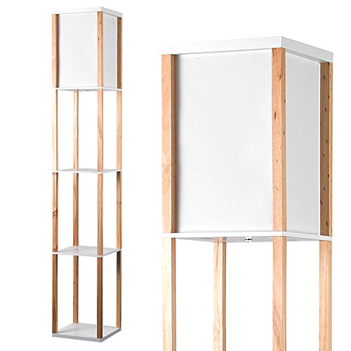 Modern Oak Wooden & White Fabric Floor Lamp with Built In Shelving Units
