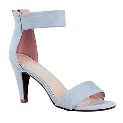 Womens Classic Comfort Sexy Open Toe Mid Heel Ankle Strap Dress Stiletto Heeled-Sandals, Grey Suede, 5.5