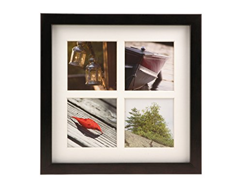 BorderTrends Echo 10x10-Inch Multi Opening Collage Photo Frame for 4x4-Inch Photos, Espresso Brown
