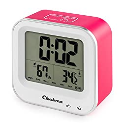 Chelvee Alarm Clock, Rechargeable Large LCD Screen Alarm Clock with Time/Date/Temperature/Humidity Display, Snooze Function, Comfort Induction, Built-in Lithium Battery (Red)