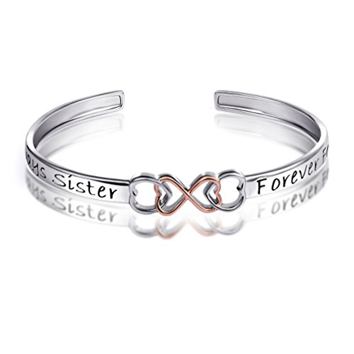 "Two Tone 925 Sterling Silver ""Always Sister Forever Friend"" Infinity Love Bracelet, 7"