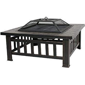 Amazon Com Zeny 32 Quot Outdoor Fire Pit Square Metal