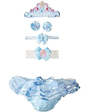 Baby Girls' Cinderella Ruffle Diaper Cover Headband and Hair Set