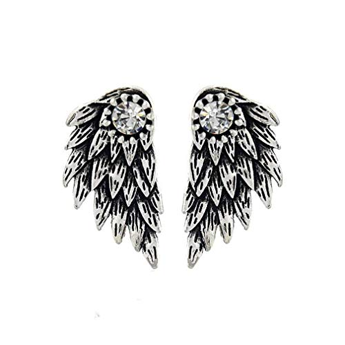 HENGSONG 1 Pair Wings Stud Earrings Alloy Lovely Cute Jewelry Gifts Charms (Vintage Silver)