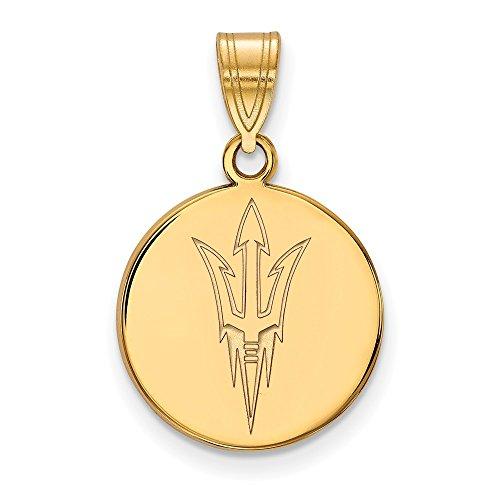 10k Yellow Gold Arizona State University Sun Devils Trident Logo Disc Pendant M - (16 mm x 15 mm) ()