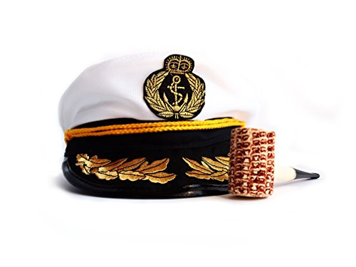 [Adult Captain's Yacht Cap and Corn Cob Pipe by Express Novelties Online] (Ship Captain Costumes)