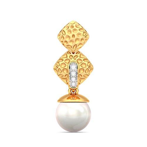 14K Or jaune 0.05CT TW White-diamond (IJ | SI) et blanc perle Pendants d'oreilles