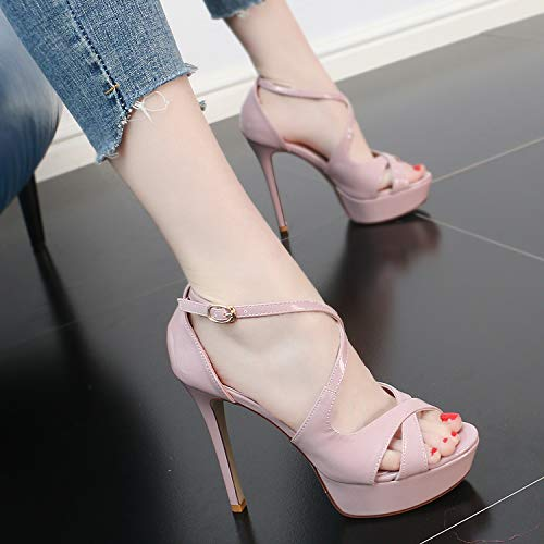 Ladies Summer 13Cm Cross High Temperament Sandals SFSYDDY Thin Strap Fashionable Mouth Fish Heels Comfortable Table Waterproof And Black Shoes aqwIddO