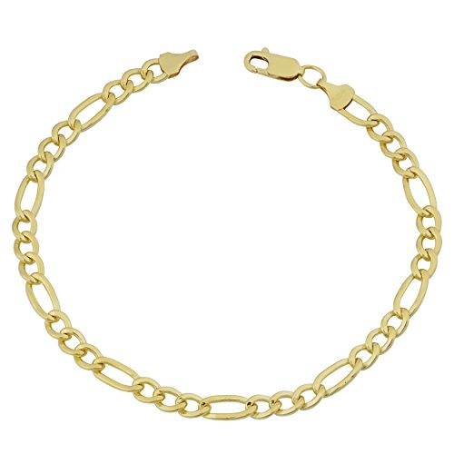 14k Yellow Gold Filled Men's Solid 5.2mm High Polish Figaro Link Bracelet (8.5 inches) (Gold Yellow Polish 14k)