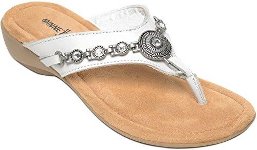 Minnetonka Women's, Sybil Thong Sandals White 10 M (Thong Minnetonka)