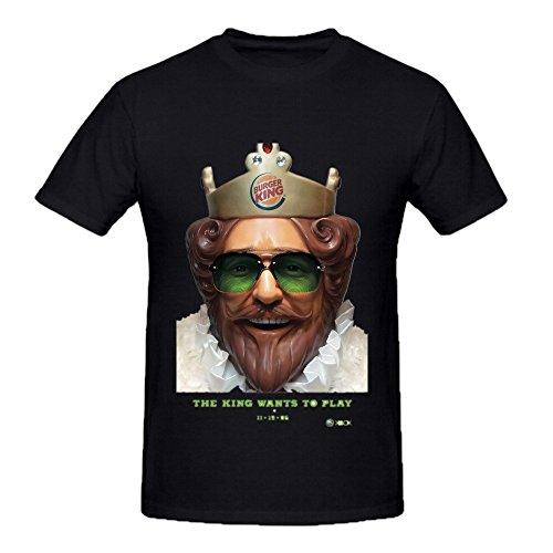 - Blinetee Burger King O-neck Cotton Fashion T Shirt For Mens Black