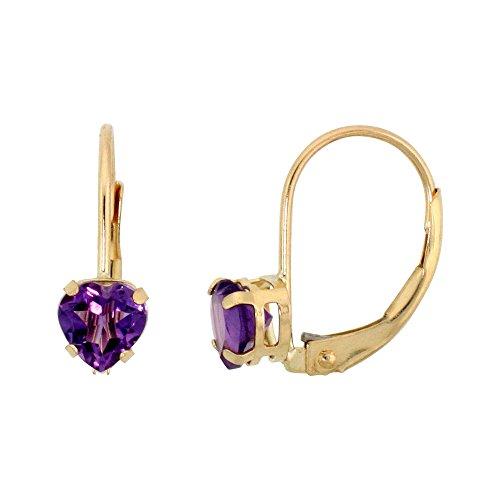 Heart 5mm Earring Amethyst (10k Yellow Gold Natural Amethyst Leverback Earrings 5mm Heart Shape 1 ct, 9/16 inch)