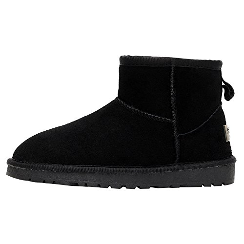rismart Women Winter Warm Fur Lined Ankle Boots Comfort Suede Snow Boots Black SN1054 US6.5 xjyubK5E