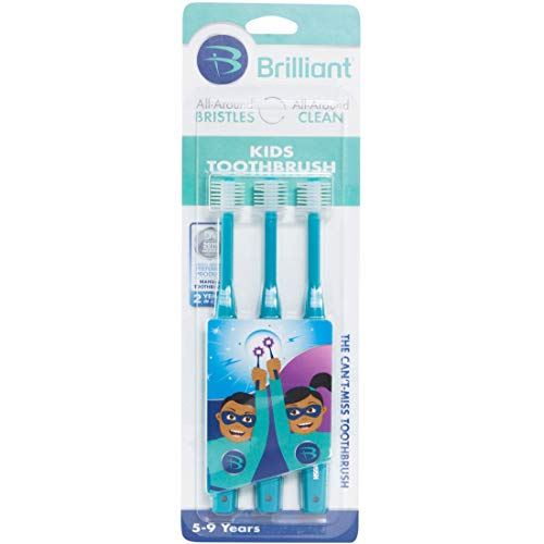 Brilliant Kids Toothbrush Ages 5-9 Years – When Adult Teeth Appear – BPA Free Super-Fine Micro Bristles Clean All-Around Mouth, Kids Love Them, Teal, 3 Count