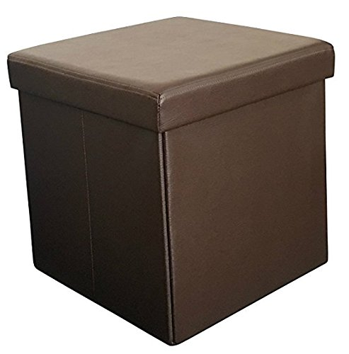 Sodynee New Faux Leather Folding Shoe Storage Ottoman Cubes Bench, Foot Rest Stool Seat Table Pouf Footstools and Ottomans 15 L, Brown