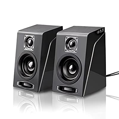 USB Powered Computer Speakers, Wired Stereo Desktop Bookshelf laptop Speakers with Volume Control Ideal for Notebook, Laptop, PC, Desktop Tablet from Meetuo