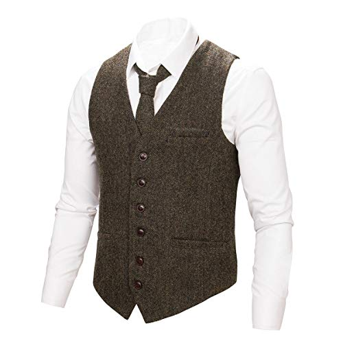 - BOTVELA Mens 100% Wool Suit Vest Full Back Herringbone Tweed Wool Blend Waistcoat (Coffee, L)