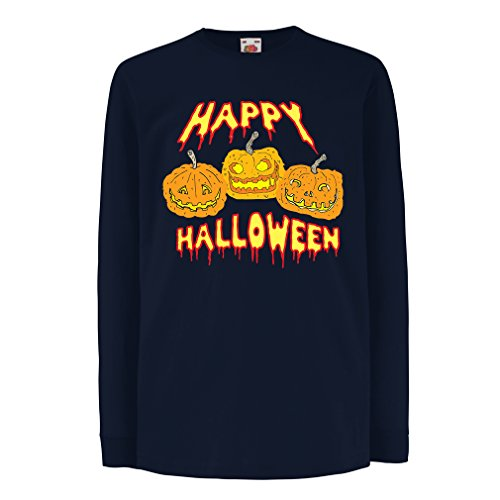lepni.me T-Shirt Kids Happy Halloween! Party Outfits & Costume - Gift Idea (9-11 Years Blue Multi -