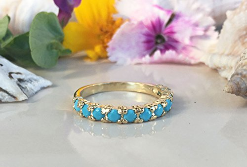 Turquoise Ring - Sleeping Beauty Turquoise - December Ring - Half Eternity Ring - Turquoise Jewelry - Simple Ring - Prong Ring
