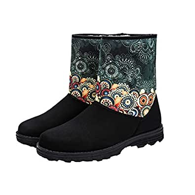 QZX Women's Suede-Winter-Snow-Boot-Fur Insulated Lining Short Fashion Bootie with Colorful Prints Non - Slip Mid Calf Boots(US6 Green)