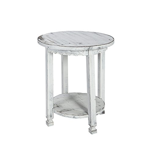 Alaterre ACCA15WA Rustic Cottage Round, White Antique Finish End Table